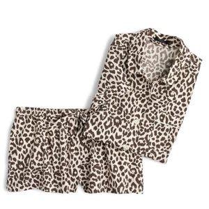 NWT J.Crew Leopard Print Cotton Pajamas - XXL